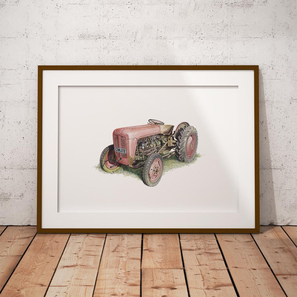 Red Fergusson Tractor Wall Art Print - Countryman John
