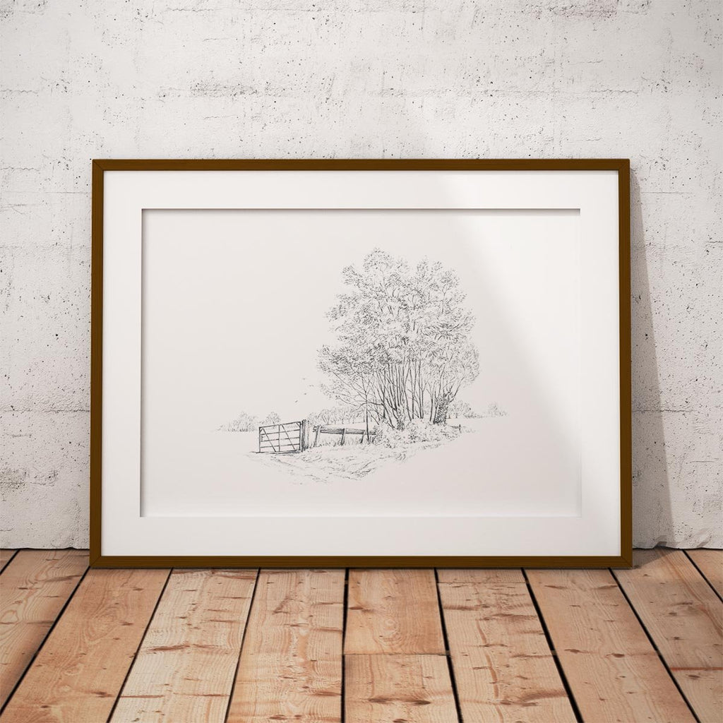 Gate and Copse Wall Art Print - Countryman John