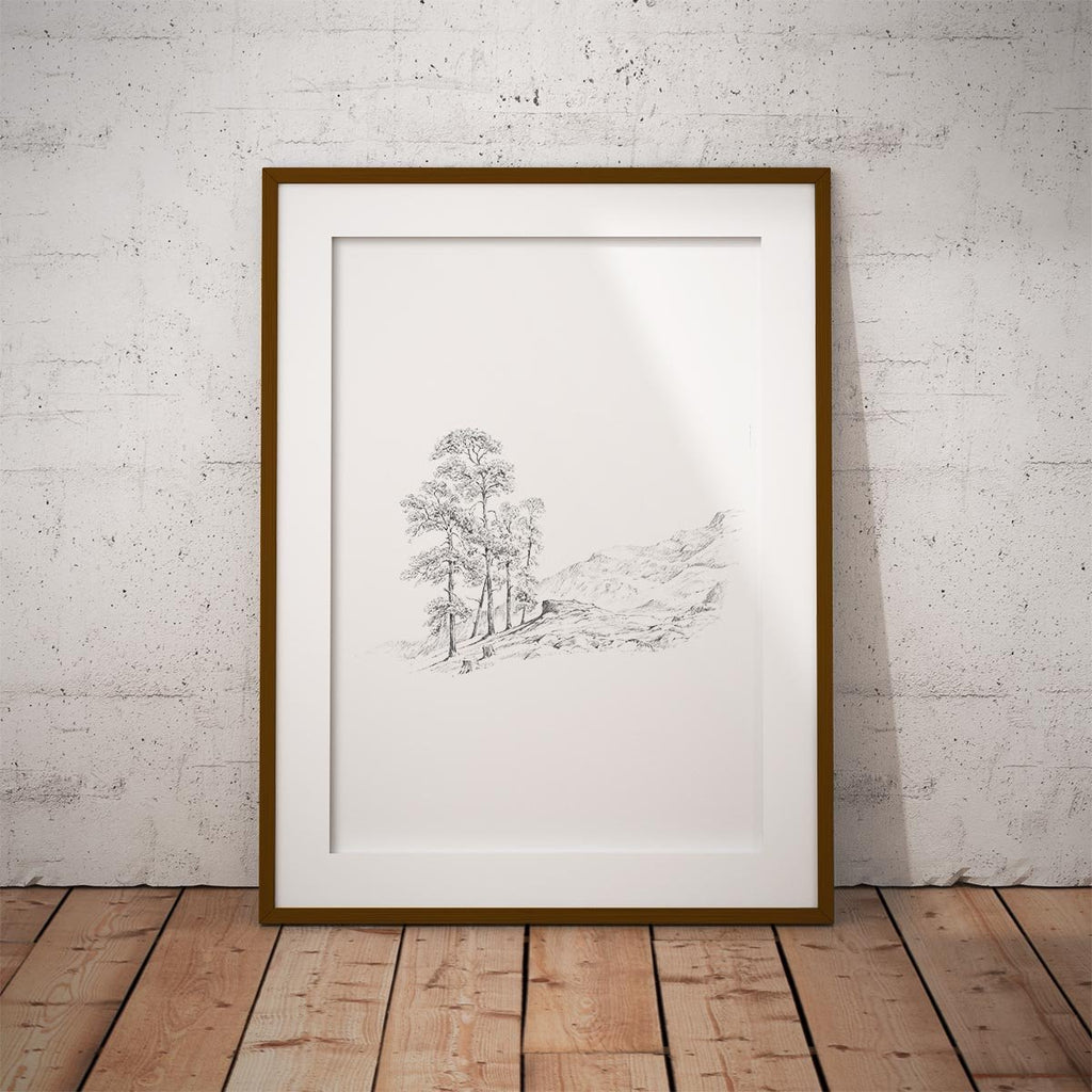 Tree and Hills Wall Art Print - Countryman John