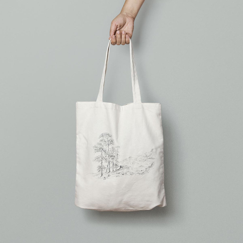 Tree and Hills Tote Bag