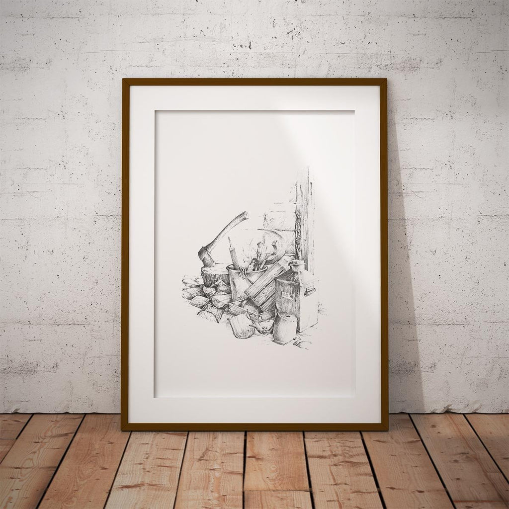 Woodpile and Axe Wall Art Print - Countryman John