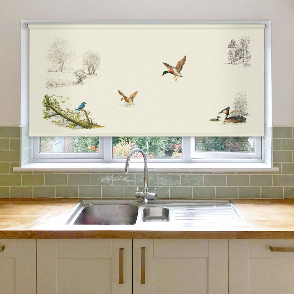 Kingfisher Ducks and Grebe Roller Blind
