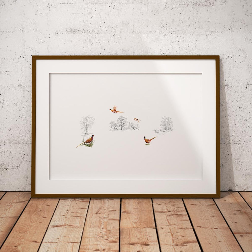 Pheasants in Field Wall Art Print - Countryman John