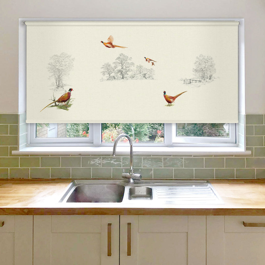 Pheasants in Field Roller Blind