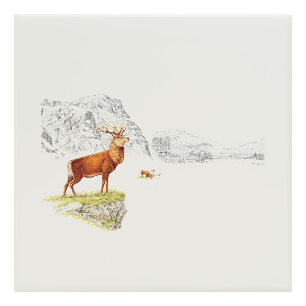Stag on the Moor Tile - Countryman John