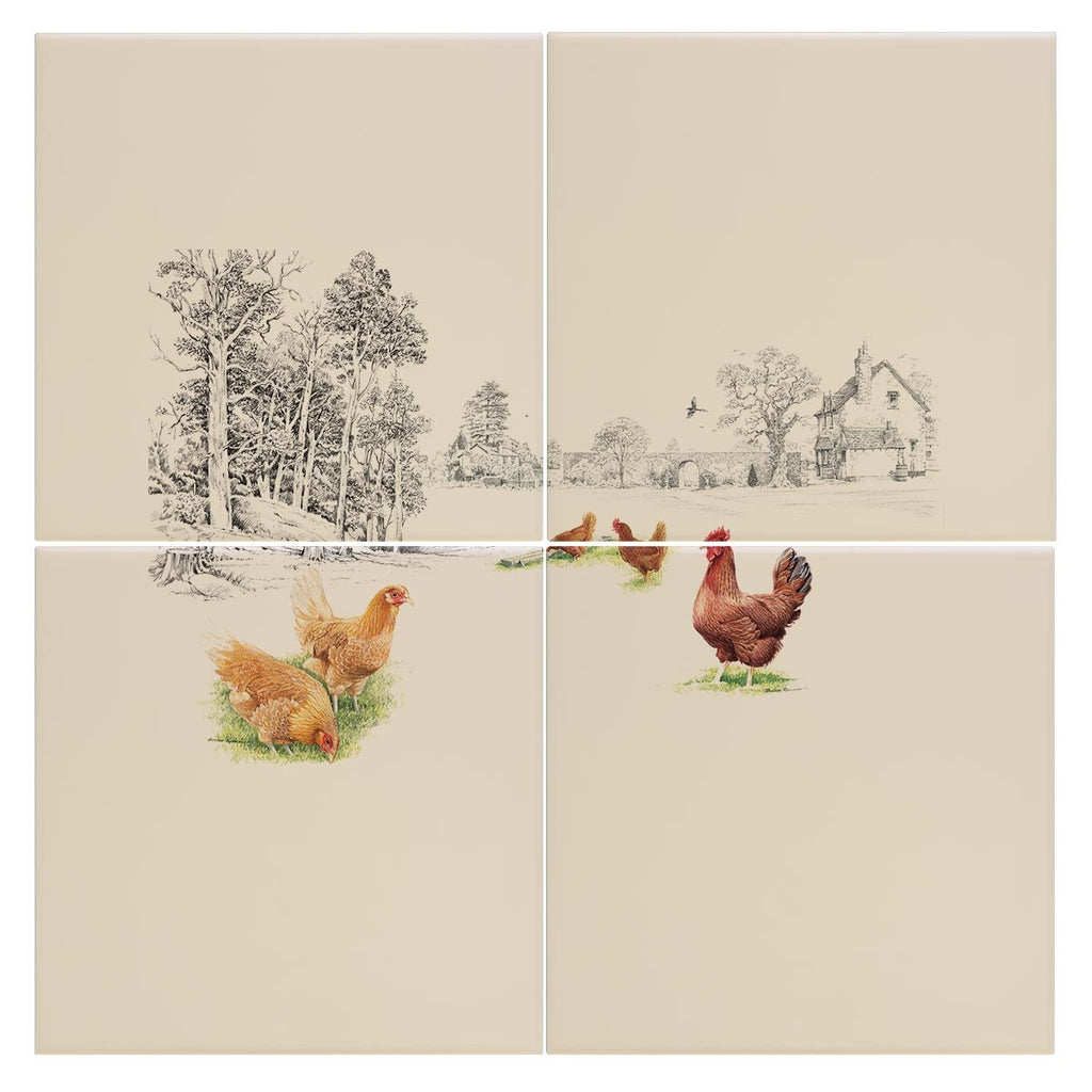 Chickens at the Bottom of the Garden Tile - Countryman John