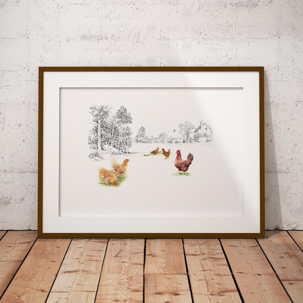 Chickens at the Bottom of the Garden Wall Art Print - Countryman John