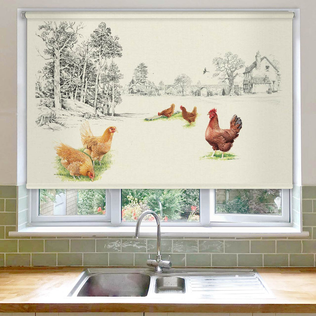1916 Chickens at the Bottom of the Garden Roller Blind
