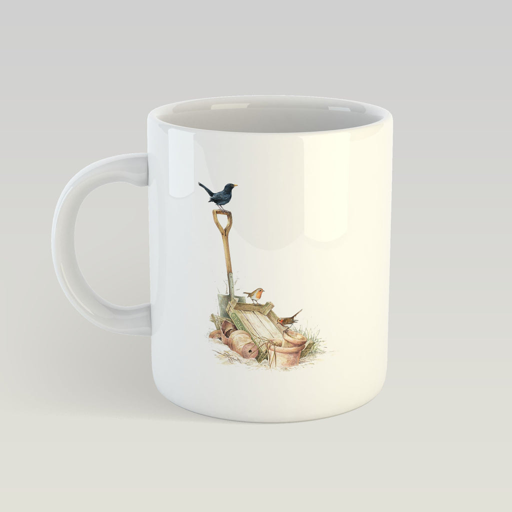 Blackbird and Robins Mug - Countryman John