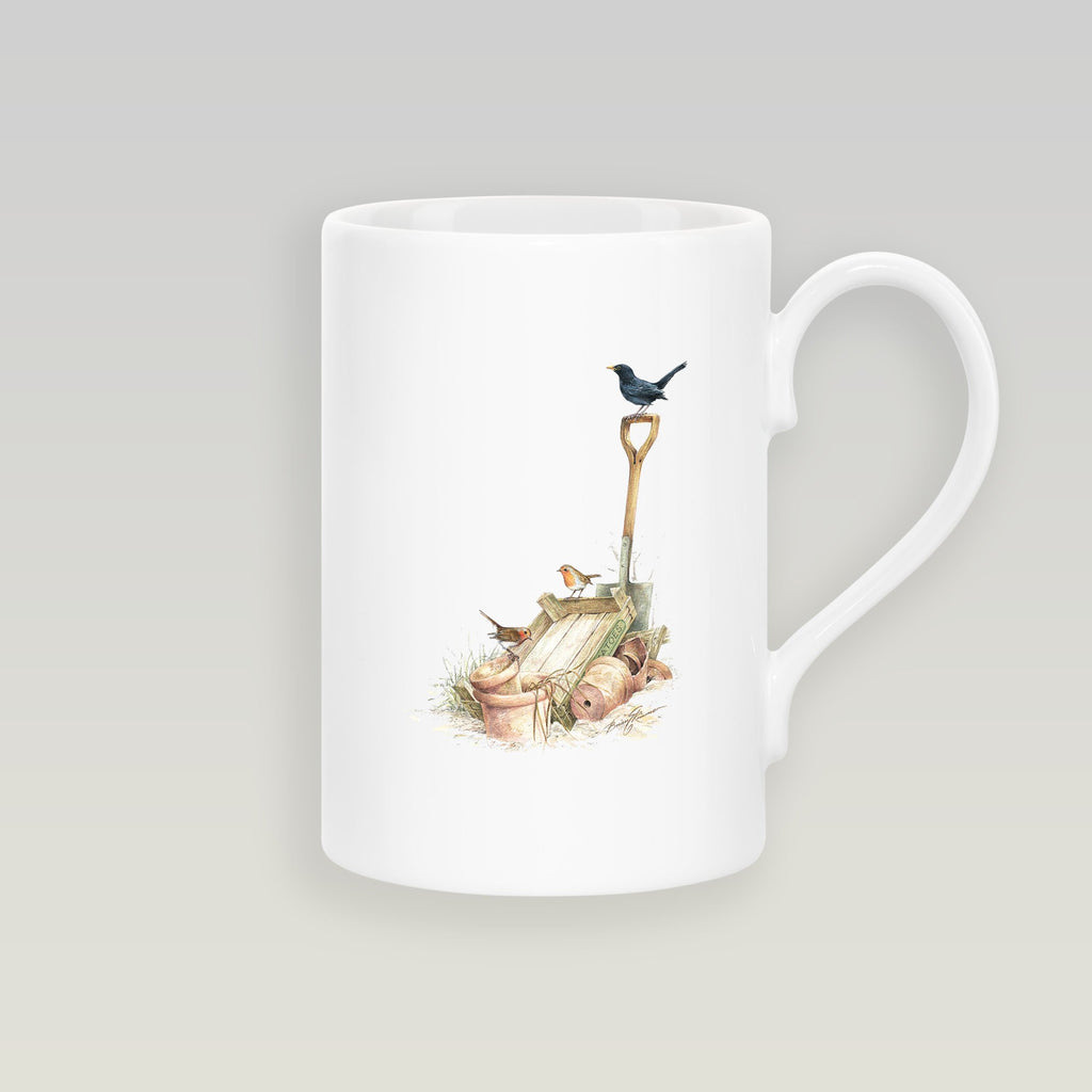 Blackbird and Robins Slim Mug - Countryman John