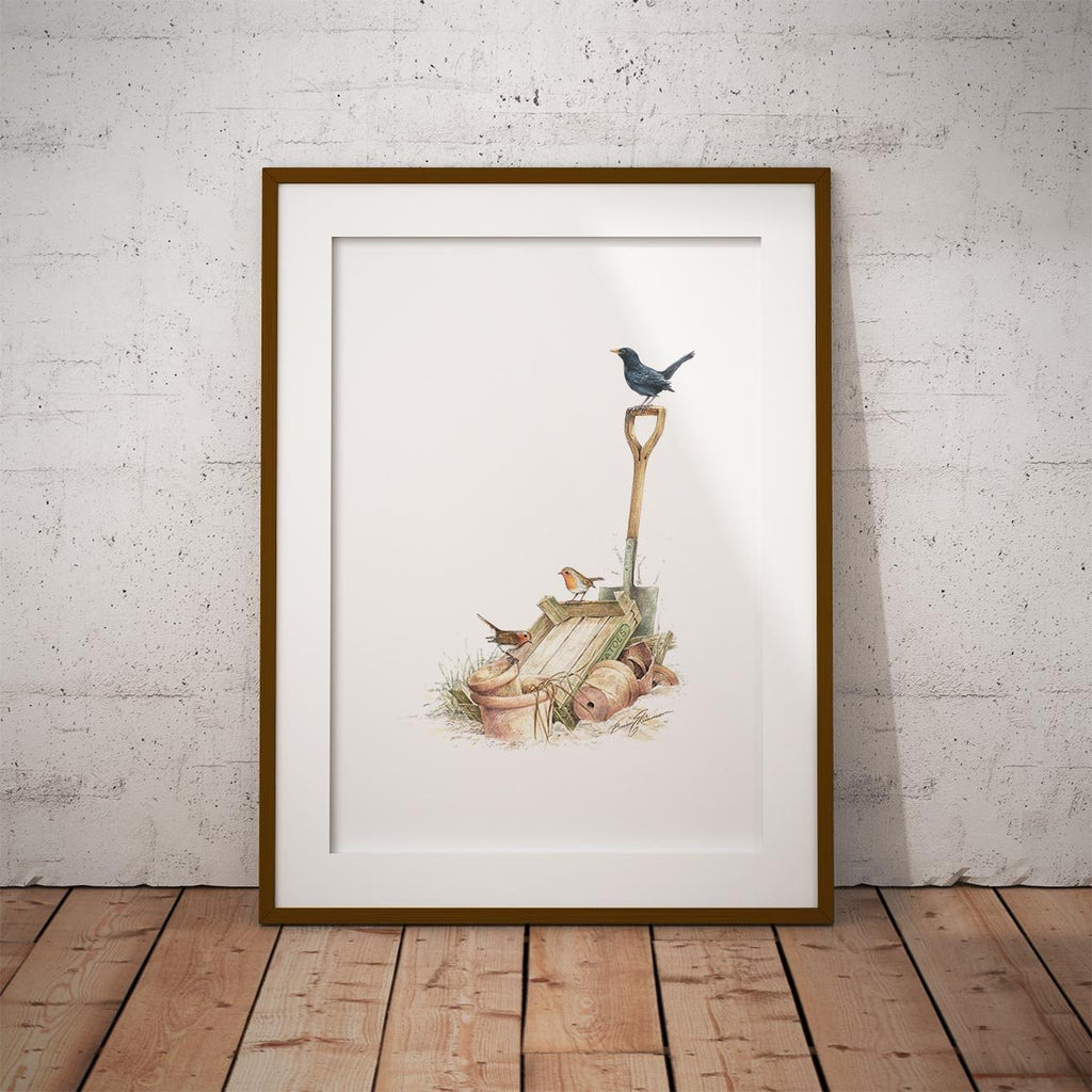 Blackbird and Robins Wall Art Print - Countryman John