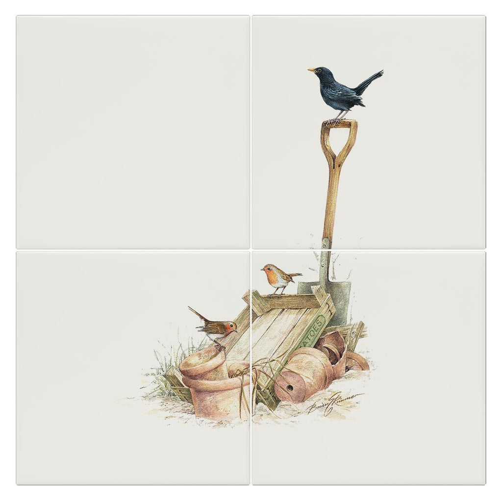 Blackbird and Robins Tile - Countryman John