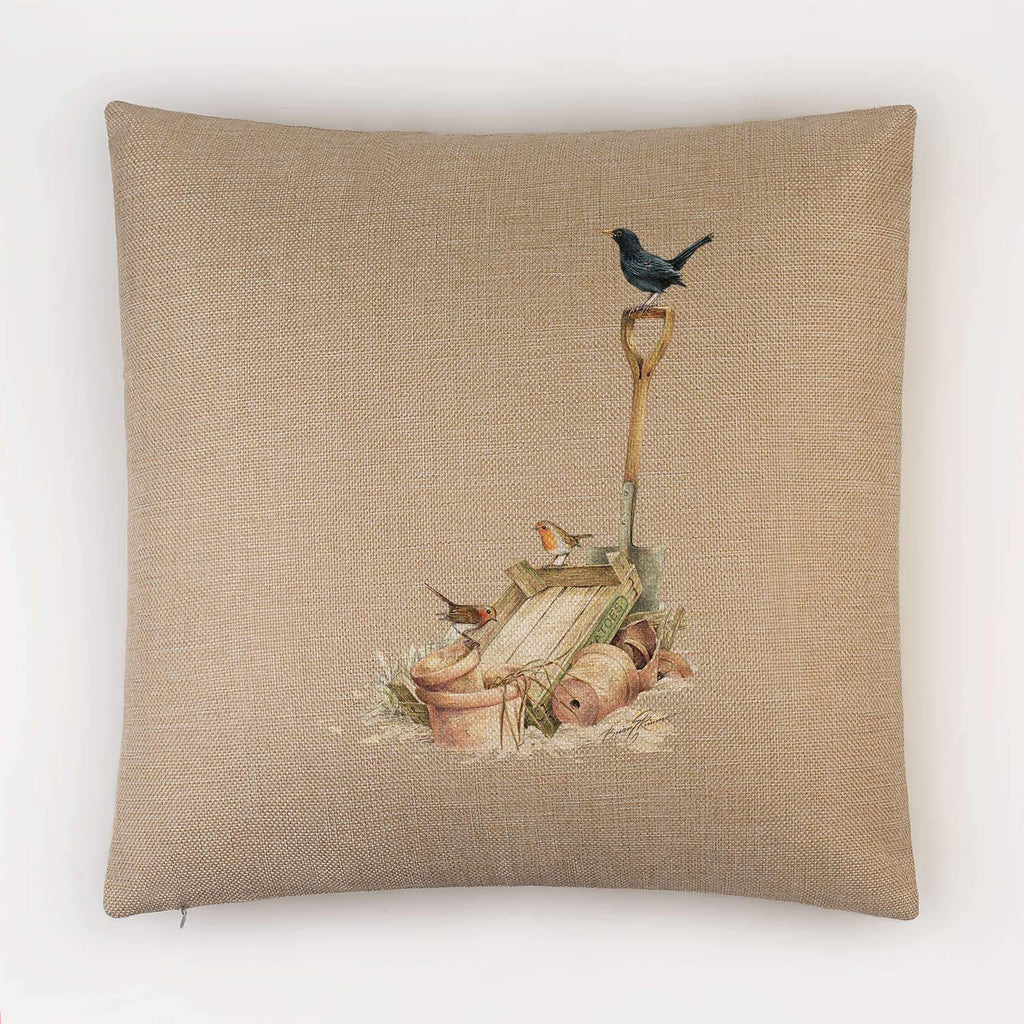 Blackbird and Robins Cushion - Countryman John