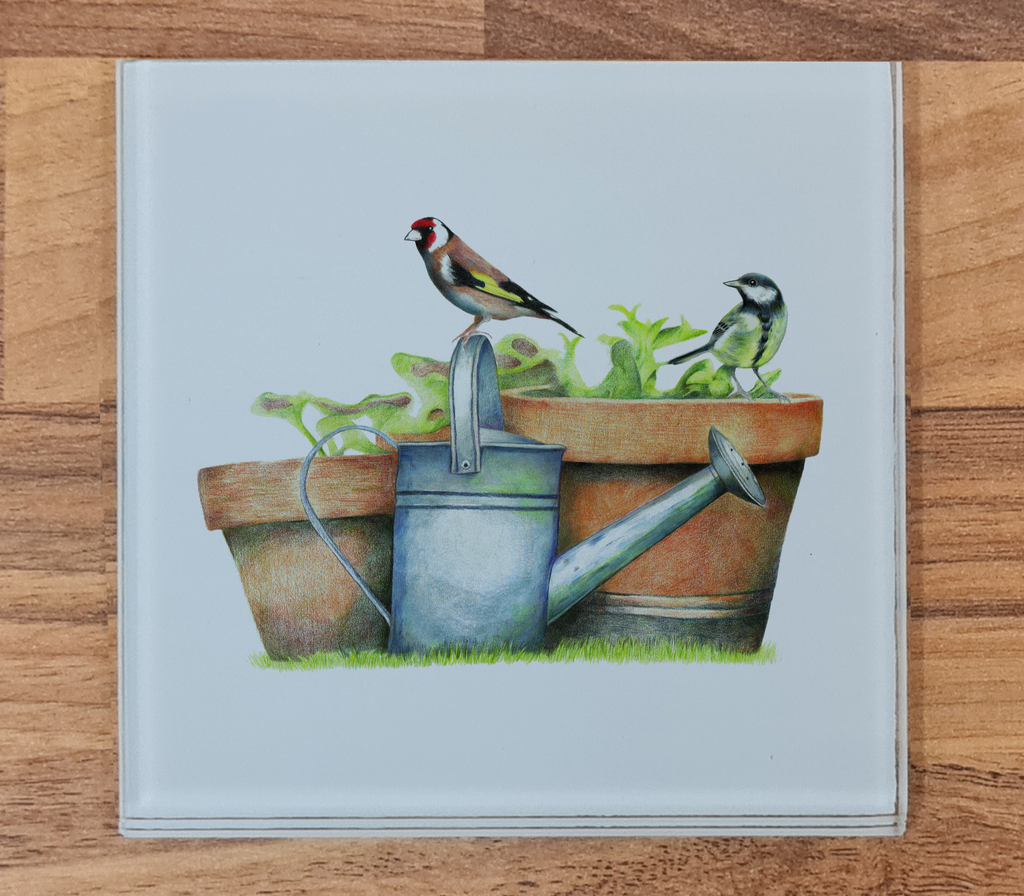 Great Tit and Goldfinch Glass Coaster