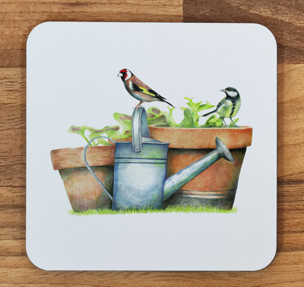 Great Tit and Goldfinch Melamine Coaster