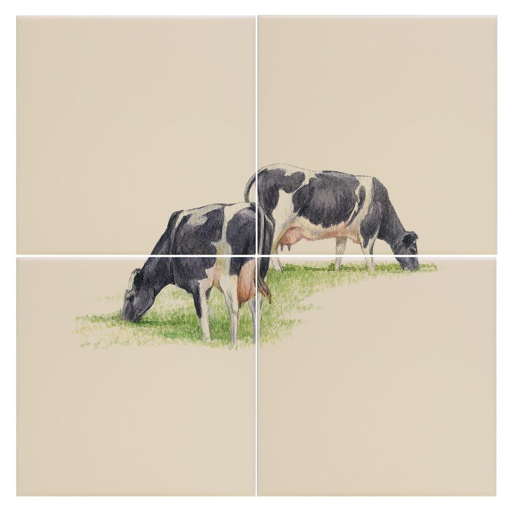 Fresian Cows Feeding Tile - Countryman John