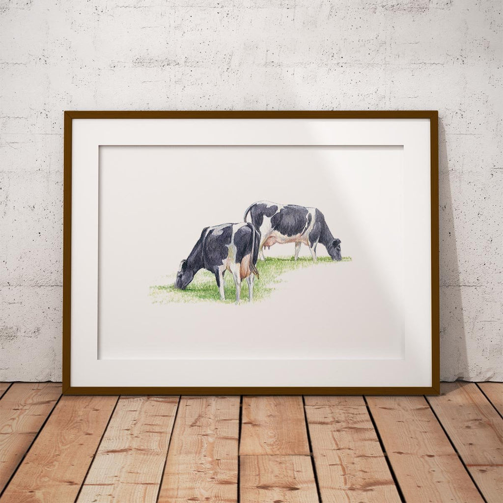 Fresian Cows Feeding Wall Art Print - Countryman John