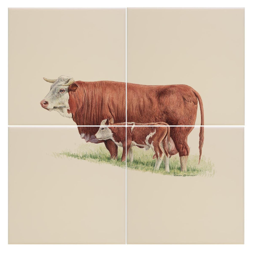 Cow and Calf Tile - Countryman John