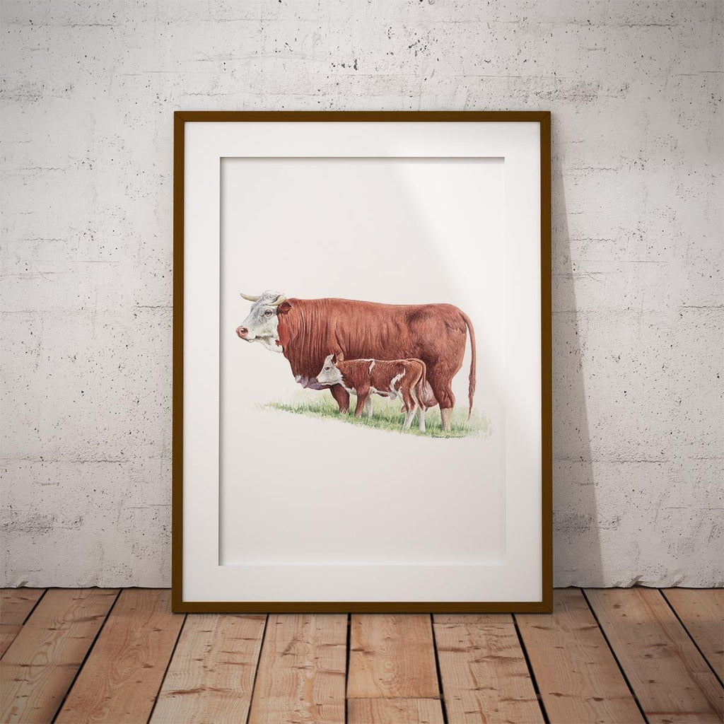 Cow and Calf Wall Art Print - Countryman John