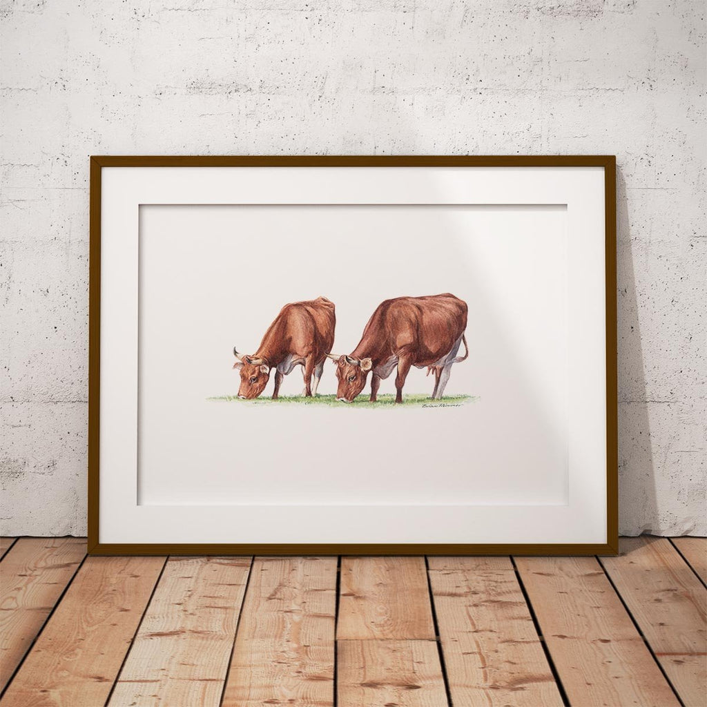 Cows Feeding Wall Art Print - Countryman John