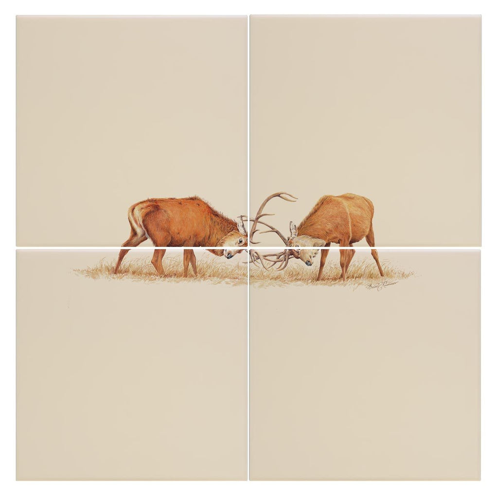 Duelling Stags Tile - Countryman John