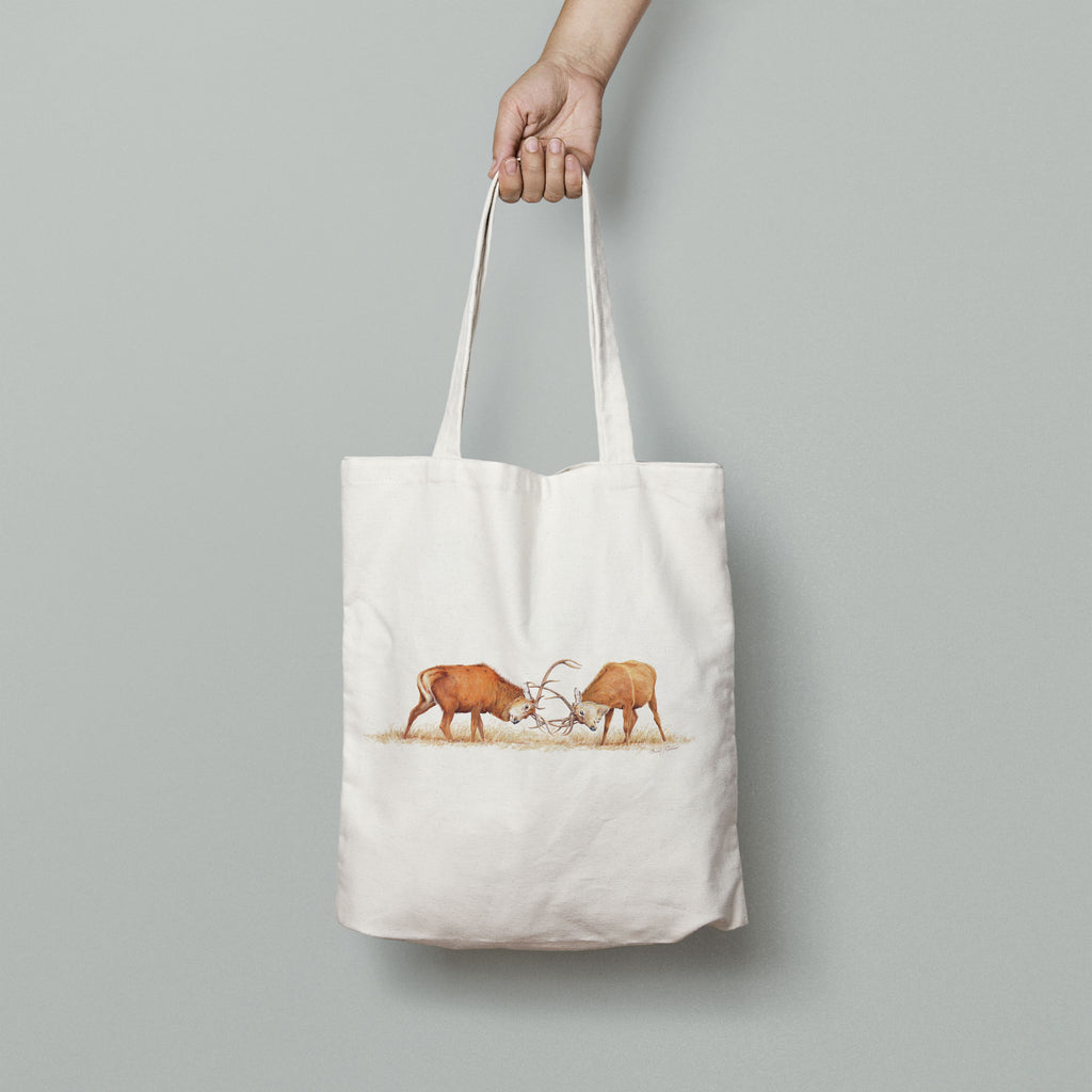 Duelling Stags Tote Bag