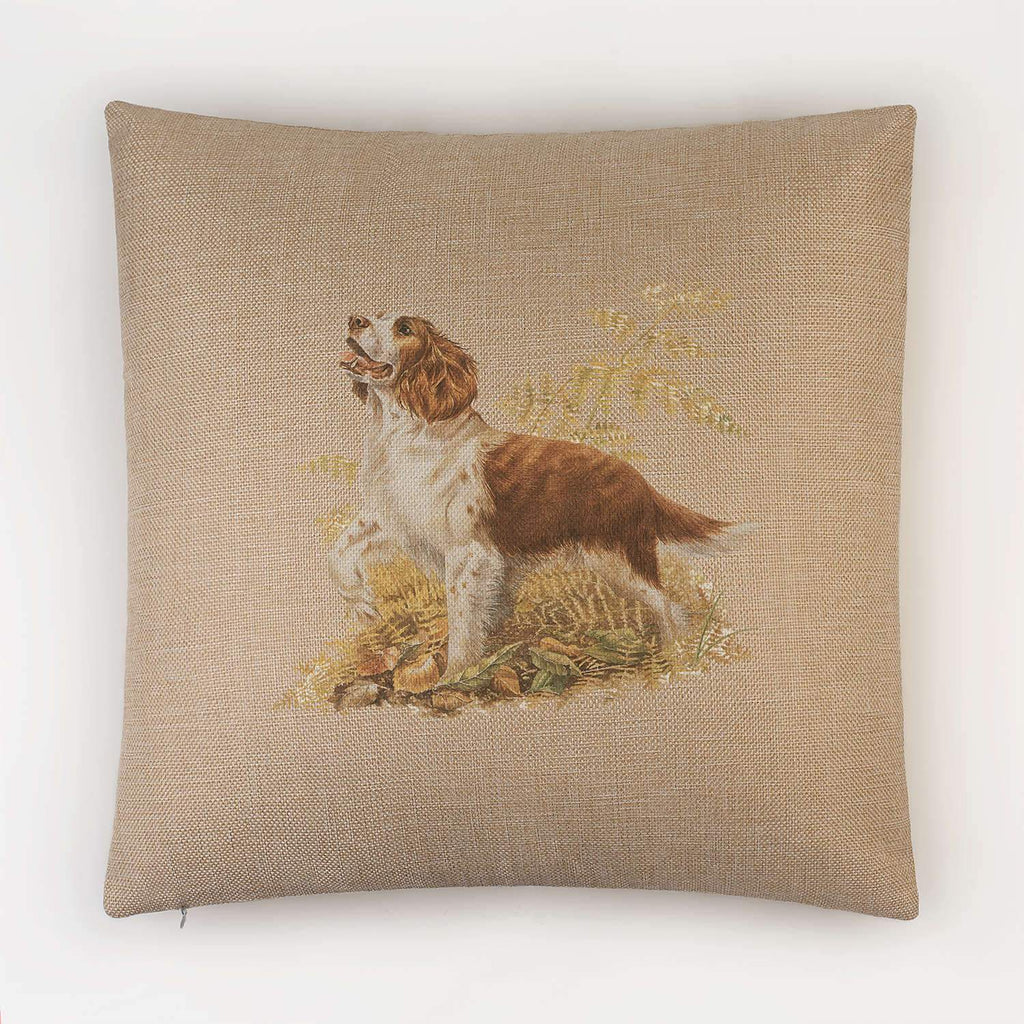 Brown and White Springer Spaniel Cushion - Countryman John