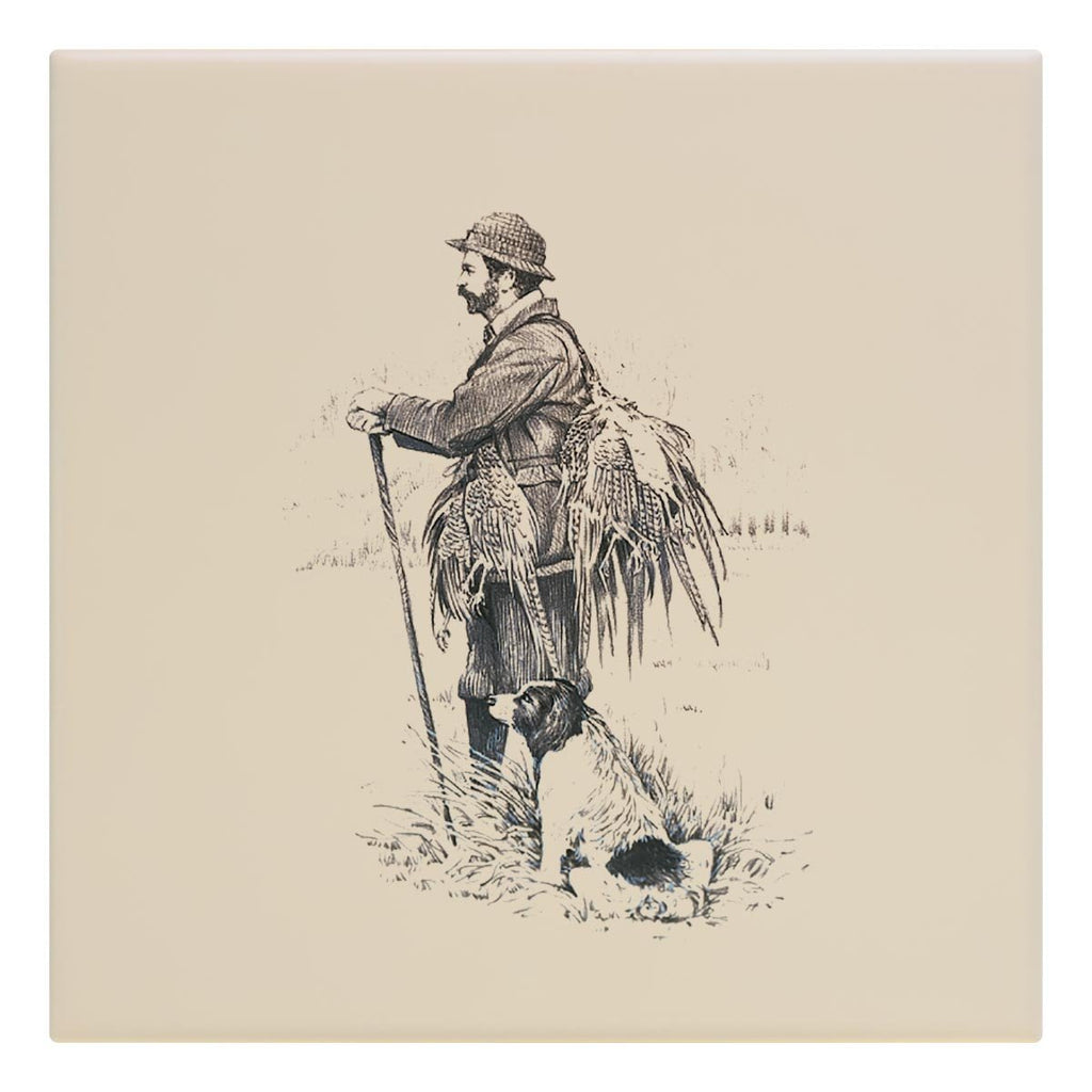 Gamekeeper and Springer Spaniel Tile - Countryman John
