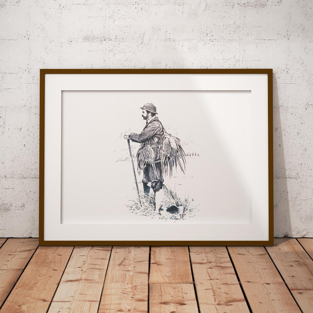 Gamekeeper and Springer Spaniel Wall Art Print - Countryman John