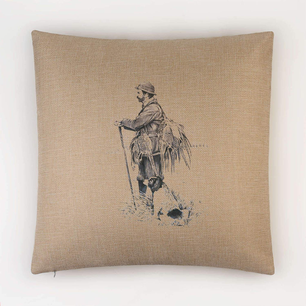 Gamekeeper and Springer Spaniel Cushion - Countryman John