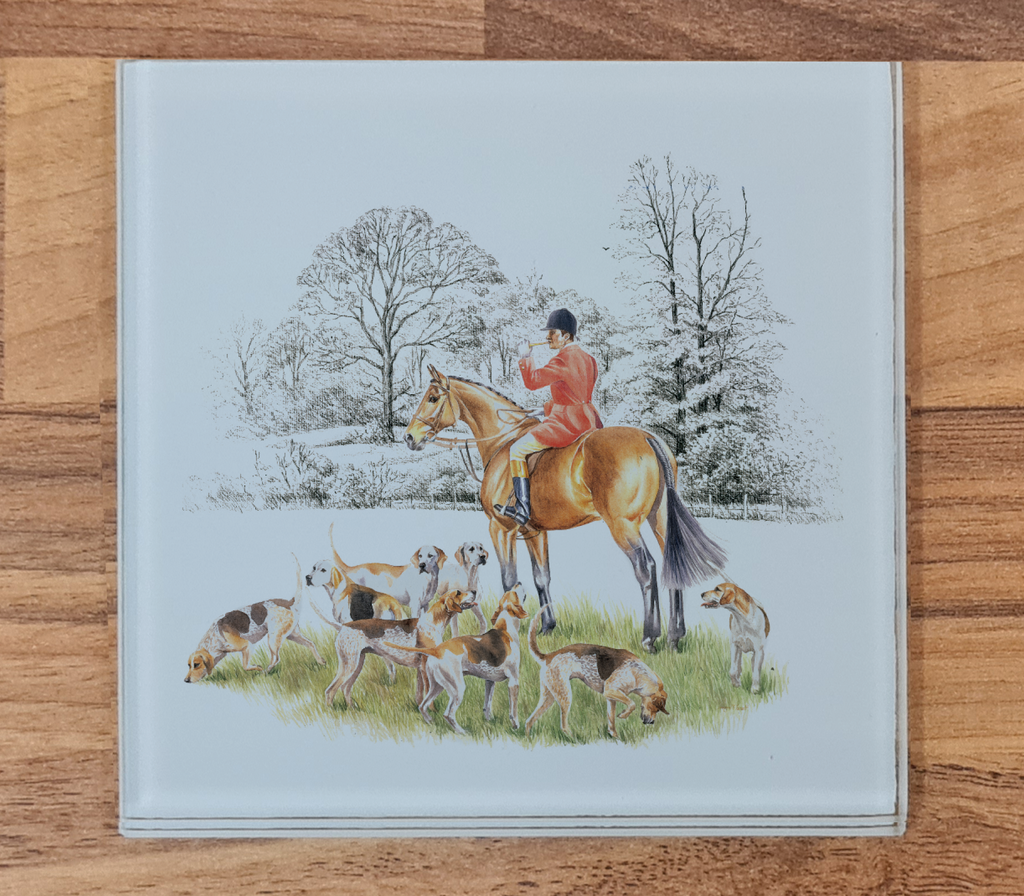 Huntsman and Hounds Glass Coaster