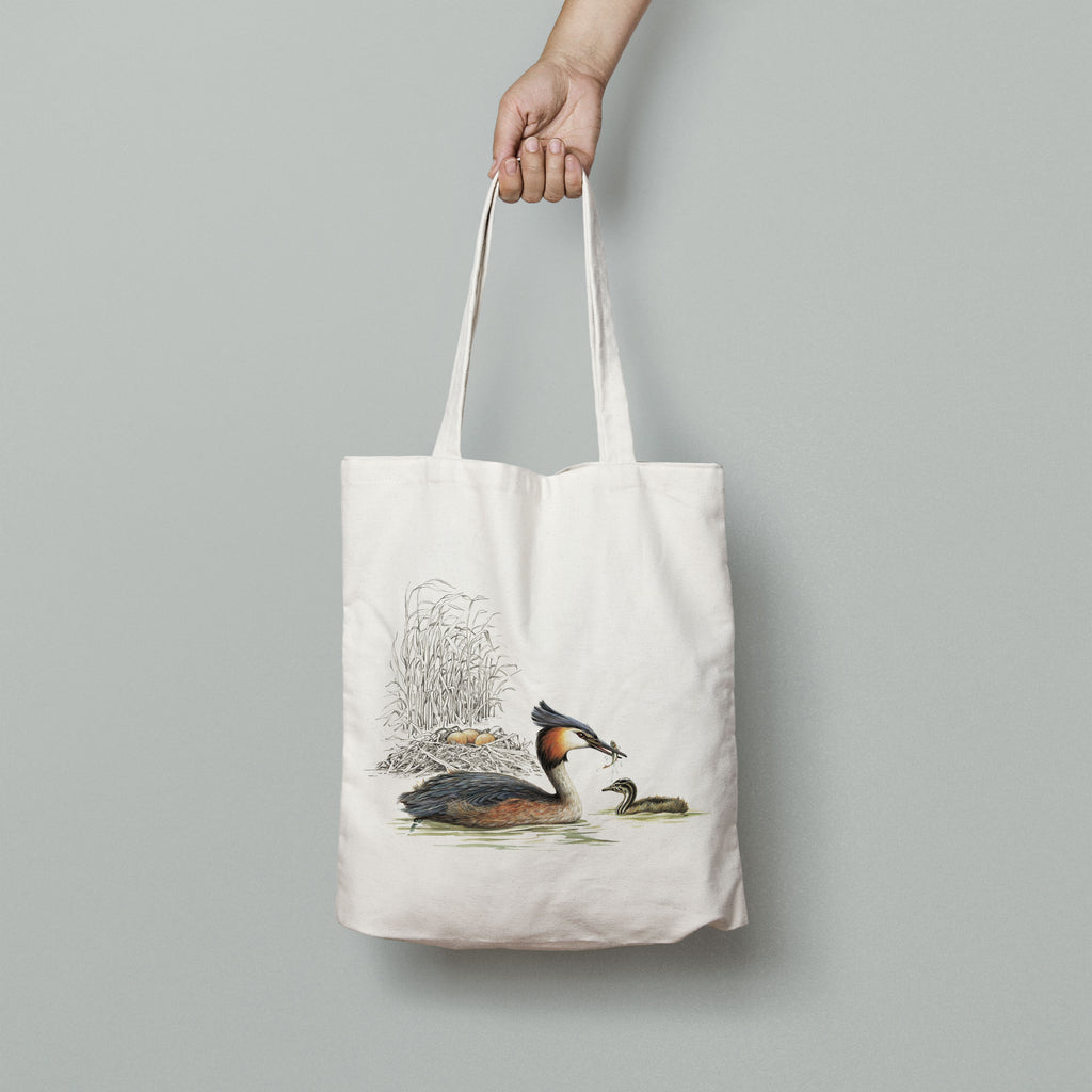 Grebe and Nest Tote Bag