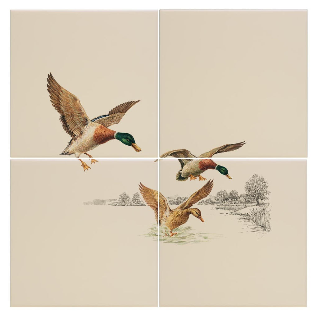 Mallards Coming in to Land on Pond Tile - Countryman John
