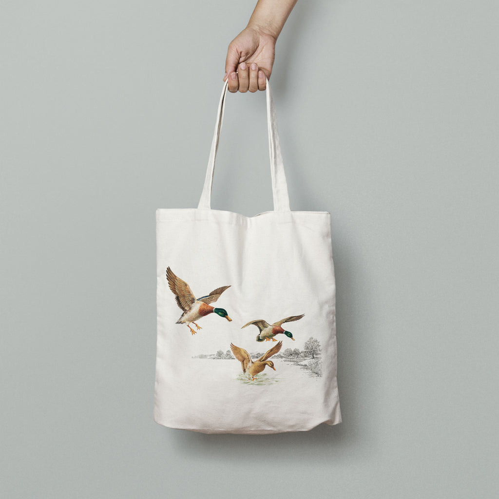 Mallards Coming in to Land on Pond Tote Bag