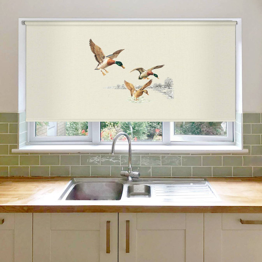 Mallards Coming in to Land on Pond Roller Blind