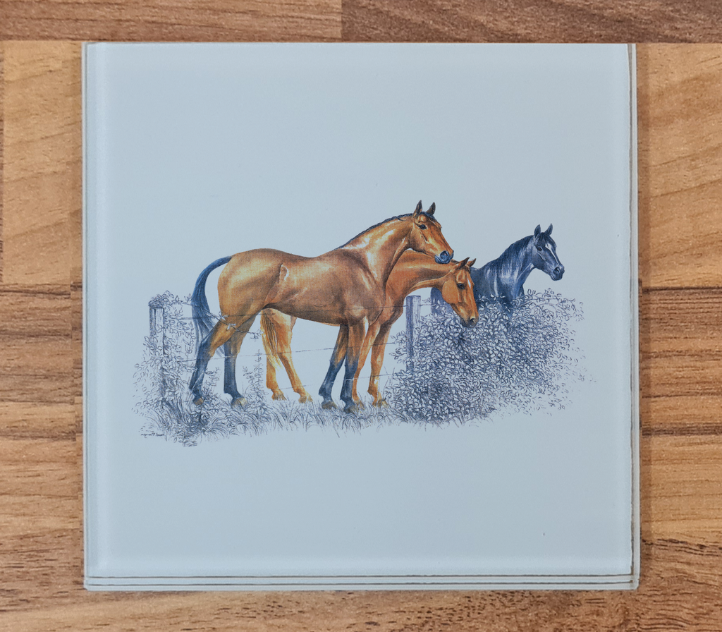Horses Glass Coaster
