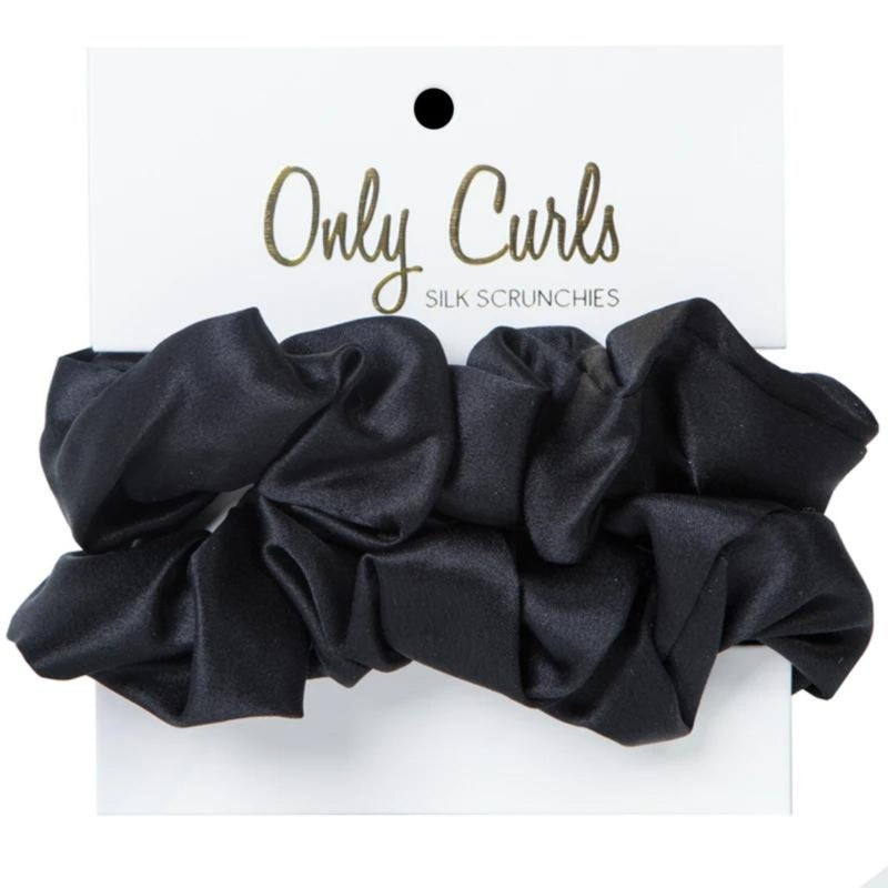 Only Curls - Silk Scrunchies Black