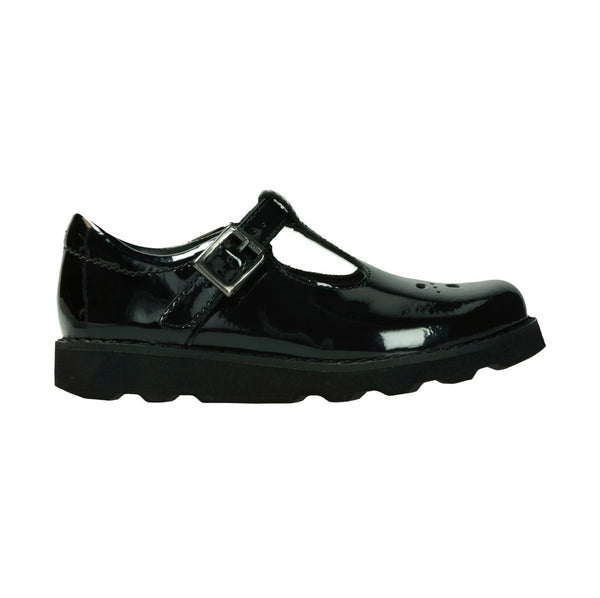 Kids Clarks Crown Wish School Shoes Black Patent