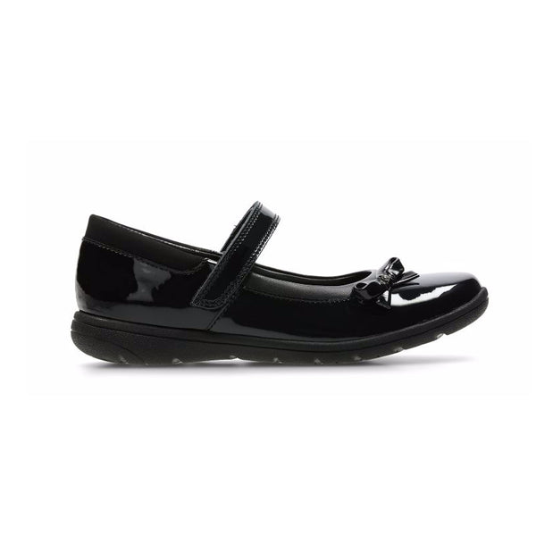 Kids Clarks Venture Star School Shoes Black Patent