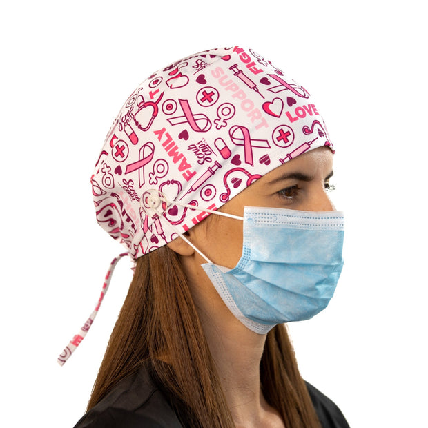 Breast Cancer scrub Cap with buttons - scrubcapsusa