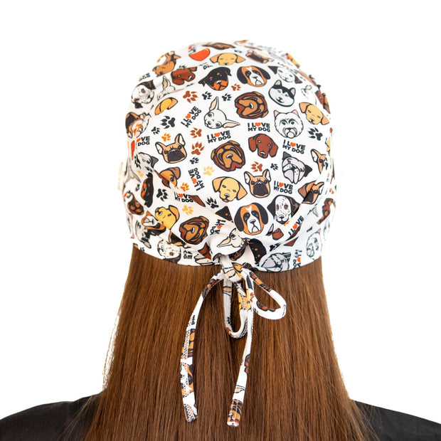 I love my dog scrub Cap with buttons - scrubcapsusa