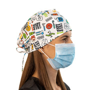 Dentist scrub Cap with buttons - scrubcapsusa