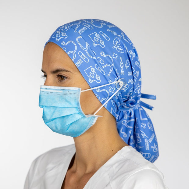 Healthcare Heroes Ponytail Scrub Cap with buttons - scrubcapsusa