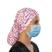 Breast Cancer Ponytail Scrub Cap - scrubcapsusa