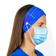 Blue Headband with buttons - scrubcapsusa