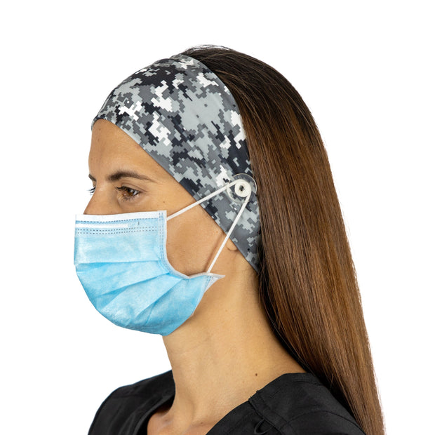Print Nurse Headband with Buttons - scrubcapsusa