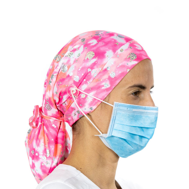 Pink and Silver Ponytail Scrub Cap - scrubcapsusa