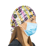 Black Flowers Scrub Cap with Buttons - scrubcapsusa
