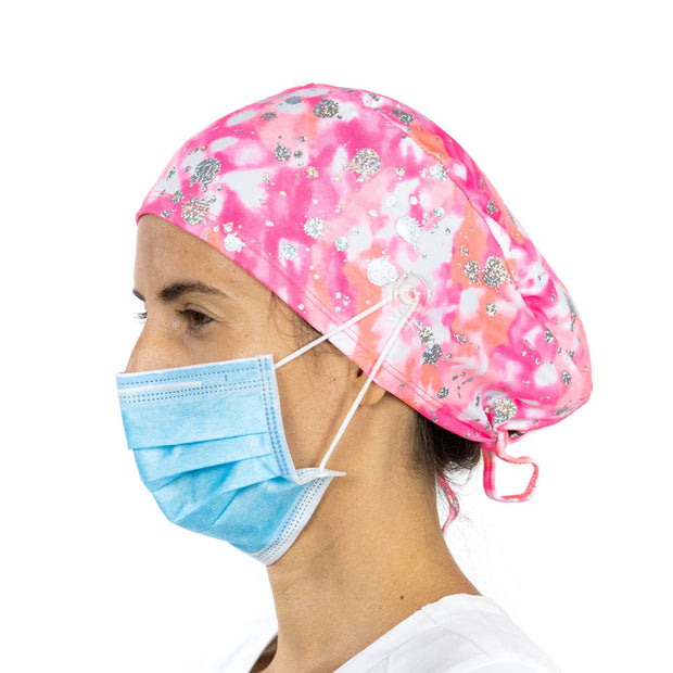 Pink and Silver Scrub Cap with Buttons - scrubcapsusa