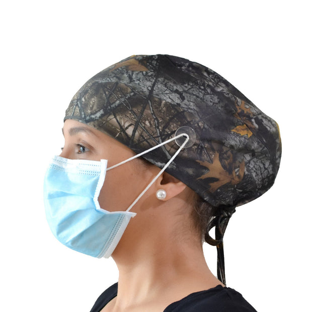 Forest Scrub Cap with Buttons - scrubcapsusa